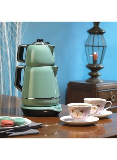 Korkmaz Demiks Turkuaz/Krom Elektrikli Çaydanlık Turkuaz